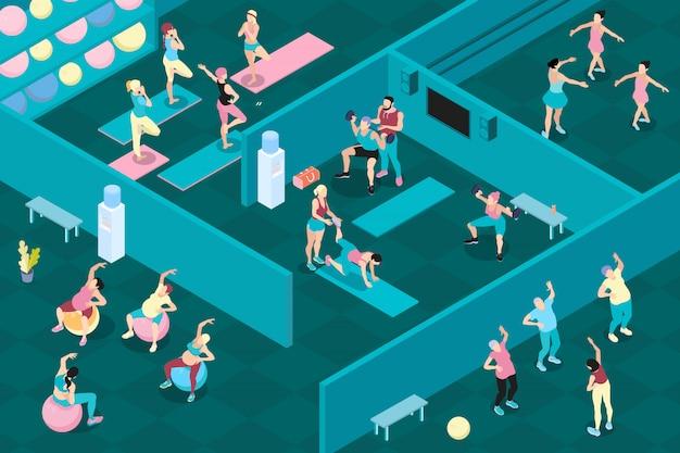 Hombres y mujeres isométricos en diferentes clases deportivas en el gimnasio.