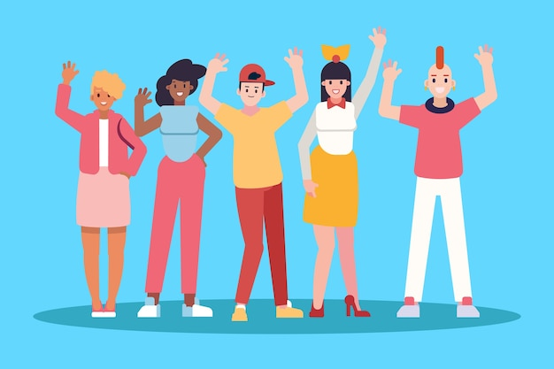 Hombres y mujeres jóvenes agitando la mano