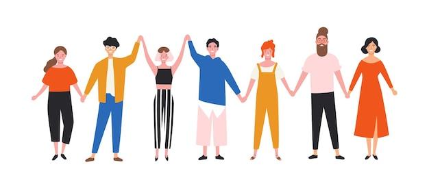 Hombres y mujeres jóvenes divertidos felices tomados de la mano. linda gente sonriente de pie juntos en fila. grupo de amigos alegres