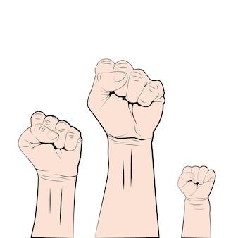 Los hombres y las mujeres levantan el puño. lucha por derechos y libertades.