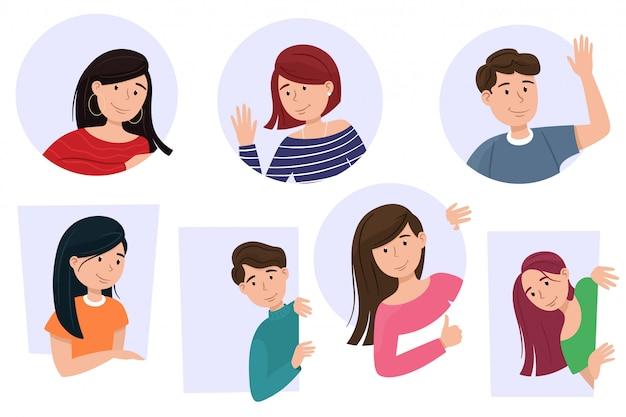Hombres y mujeres miran, los personajes de dibujos animados sonríen. conjunto de personas curiosas, aislados en estilo plano de dibujos animados.