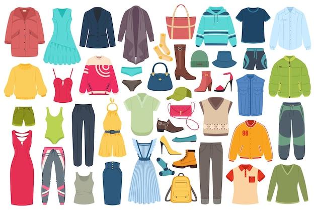 Hombres, mujeres, moda, ropa, accesorios, sombreros, calzado, verano, invierno, trajes, moda, vector, conjunto