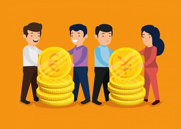 Hombres y mujeres con monedas internacionales dinero
