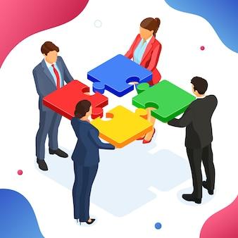Hombres y mujeres de negocios de trabajo en equipo. colaboración en asociación. infografías de rompecabezas. imágenes de héroe b2b. isometrico