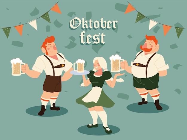 Hombres y mujeres de oktoberfest con cerveza de tela tradicional e ilustración de banderín de banner, tema de celebración y festival de alemania
