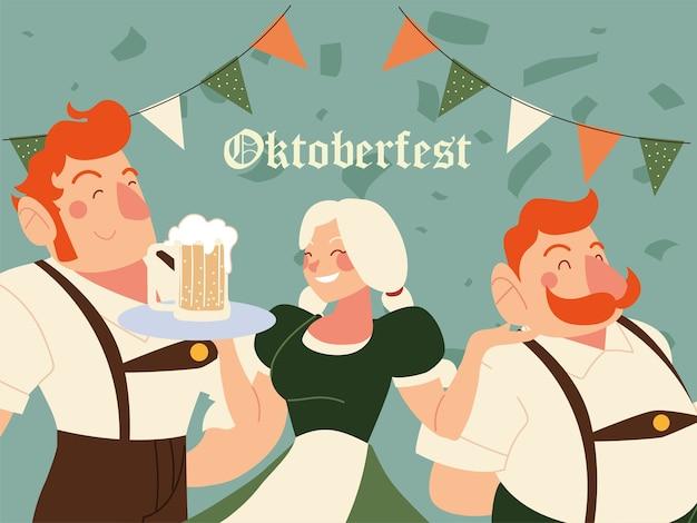 Hombres y mujeres de oktoberfest con ilustración de cerveza de tela tradicional, tema de celebración y festival de alemania