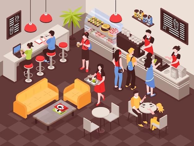 Hombres y mujeres ordenando bebidas en la cafetería 3d isométrica