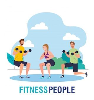 Hombres y mujeres practicando ejercicio al aire libre, ejercicio de recreación deportiva