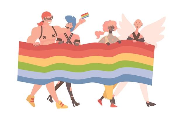 Hombres y mujeres que participan en el vector de orgullo lgbt plano