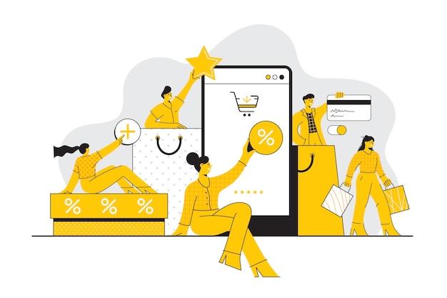 Hombres y mujeres que realizan compras en línea concepto de comercio electrónico