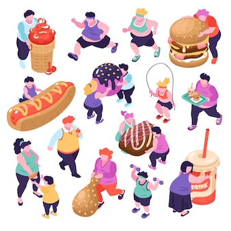 Hombres y mujeres que sufren de glotonería y hacen deporte isométrica iconos conjunto aislado sobre fondo blanco ilustración 3d