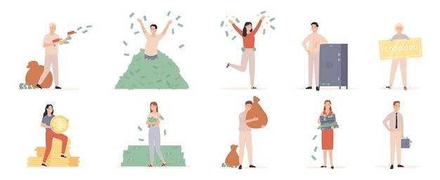 Hombres y mujeres ricos. gente rica con bolsas de dinero y dólares en efectivo, millonario bañándose en dinero, conjunto de vectores de éxito financiero emprendedor. ilustración millonario con bolsa de dinero y bañarse en efectivo