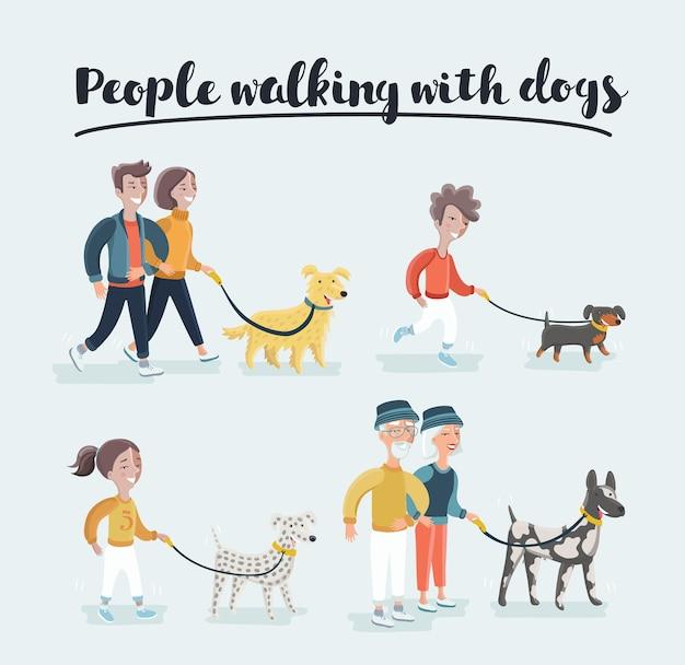 Hombres y mujeres en ropa casual paseando perros de diferentes razas, gente activa, tiempo libre. hombre con golden retriever y mujer con razas de perros dálmatas.