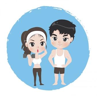 Hombres y mujeres son deportistas bien sanos.