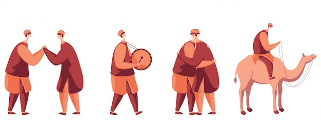 Hombres musulmanes en diferentes poses como abrazar, tamborilear, montar en camello.