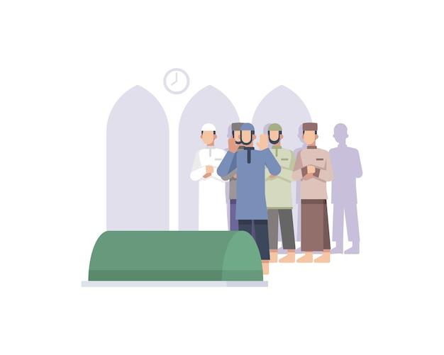 Los hombres musulmanes rezan por el cuerpo