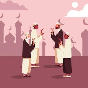 Hombres musulmanes rezando en la mezquita, ramadán kareem