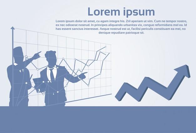 Los hombres de negocios agrupan concepto financiero del éxito del gráfico de las finanzas