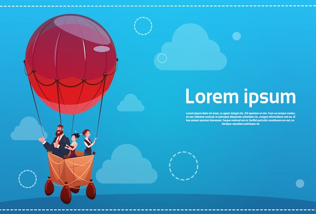 Los hombres de negocios agrupan el vuelo en concepto de la puesta en marcha del éxito del globo del aire