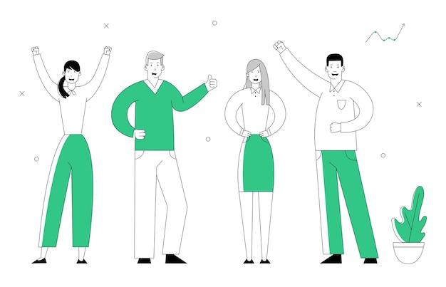 Hombres de negocios alegres están en línea. equipo de gerentes grupo de trabajo en equipo perfecto.