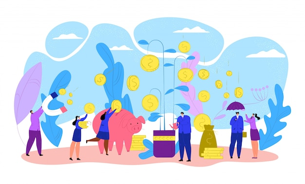 Hombres de negocios con el árbol del dinero de las finanzas, ilustración de la inversión de la moneda. el éxito del crecimiento de la planta bancaria, el concepto de beneficio económico. riqueza del banco de divisas, ingresos financieros y ganancias.