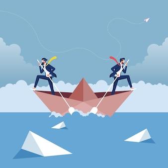 Los hombres de negocios en el barco están remando en la dirección opuesta entre sí