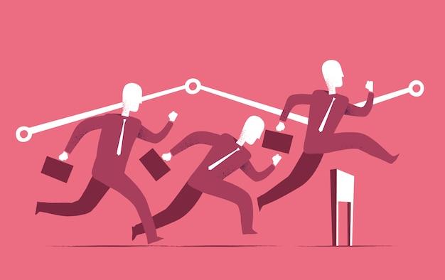 Hombres de negocios en una carrera