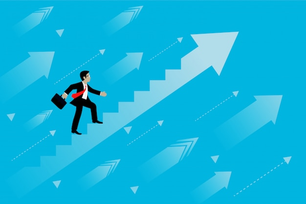 Los hombres de negocios comienzan a subir la escalera del crecimiento hacia la meta hacia el éxito.