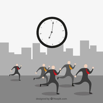 Los hombres de negocios contra el tiempo