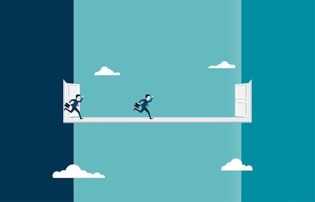 Los hombres de negocios corren hacia nuevas oportunidades profesionales. la nueva entrada en el futuro. corriendo y entrando a una nueva vida. liderazgo, visión, logro, cambio. ilustración vectorial plana