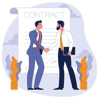 Hombres de negocios dándose la mano. ilustración de concepto empresarial