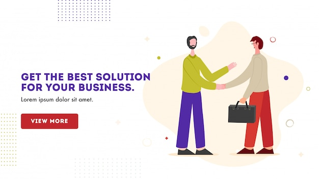 Hombres de negocios dándose la mano para obtener la mejor solución para su negocio, plantilla de banner