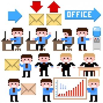 Hombres de negocios y elementos de oficina en estilo pixelado