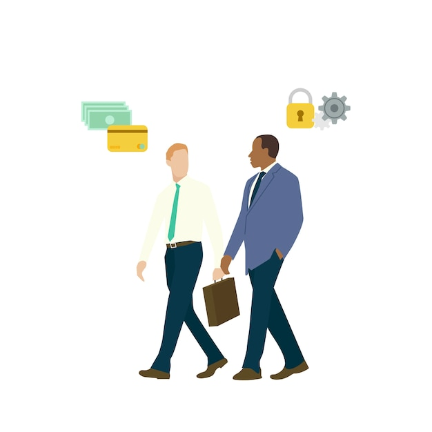 Hombres de negocios hablando de seguridad de la banca en línea