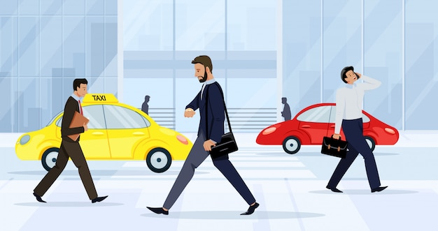 Hombres de negocios hombres y mujeres que caminan en la calle.