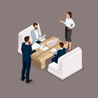 Hombres de negocios isométricos, hombres y mujeres en trajes de negocios
