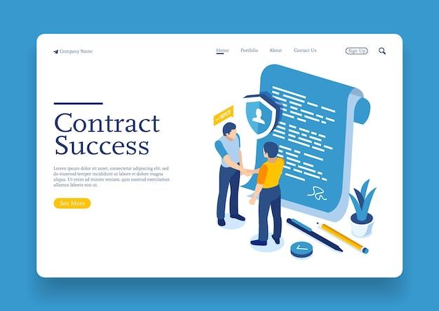 Hombres de negocios isométricos planos 3d que sacuden la mano que firma con el documento del contrato del acuerdo en línea