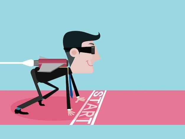 Los hombres de negocios con jetpack se apresuran a comenzar el éxito rápido. concepto de negocio de vector