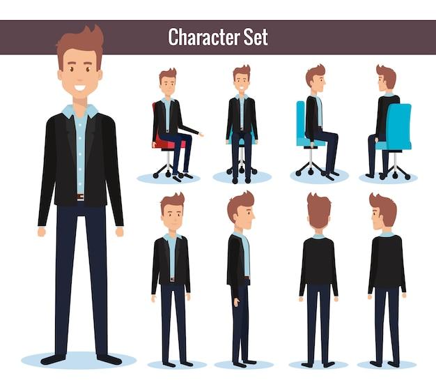 Hombres de negocios posando en silla de oficina y soporte