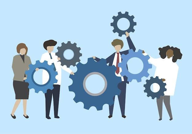 Hombres de negocios que conectan con el ejemplo de los engranajes