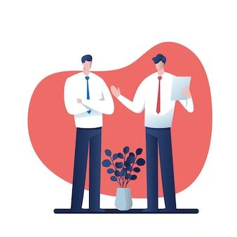 Hombres de negocios que consultan. historieta para el negocio, carácter del ejemplo del vector