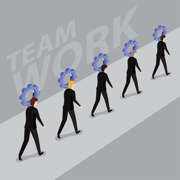 Hombres de negocios que llevan un piñón en una fila. trabajo en equipo, éxito y trabajo en equipo