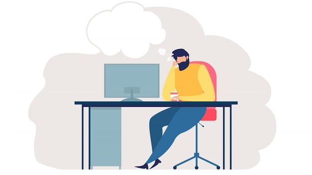 Hombres de negocios que piensan en nuevas ideas vector plano
