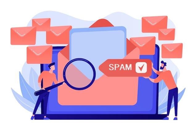 Los hombres de negocios reciben publicidad, phishing, propagación de malware irrelevante y mensajes de spam no solicitados. spam, mensajes no solicitados, concepto de propagación de malware