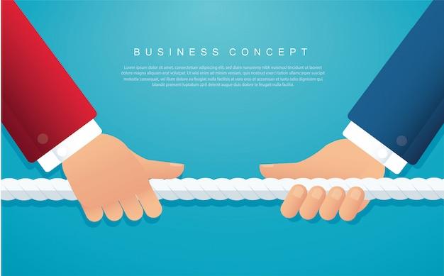 Los hombres de negocios tiran de la cuerda