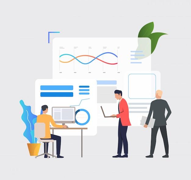 Hombres de negocios trabajando en computadoras y analizando gráficos financieros.