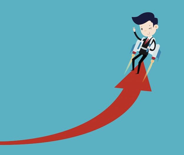 Los hombres de negocios vuelan con jetpack y crecen flecha de gráfico