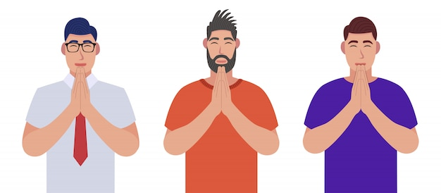 Hombres con los ojos cerrados rezando con las manos juntas. los hombres rezan. conjunto de caracteres.