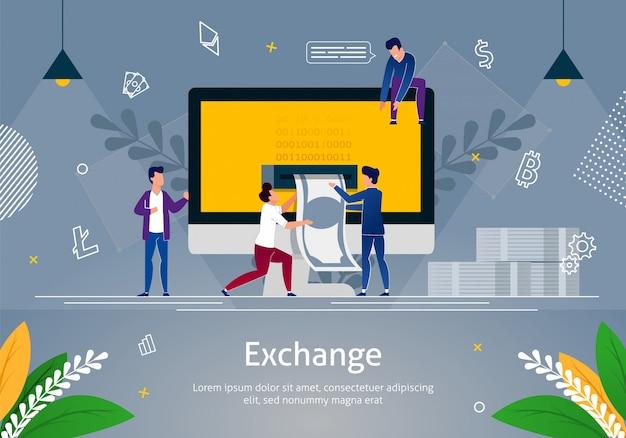 Hombres pequeños sacando dinero de la computadora, intercambio.