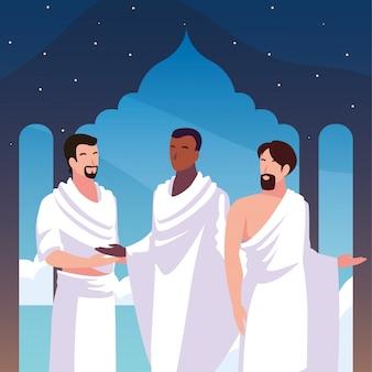 Hombres peregrinos hajj, día de dhul hijjah
